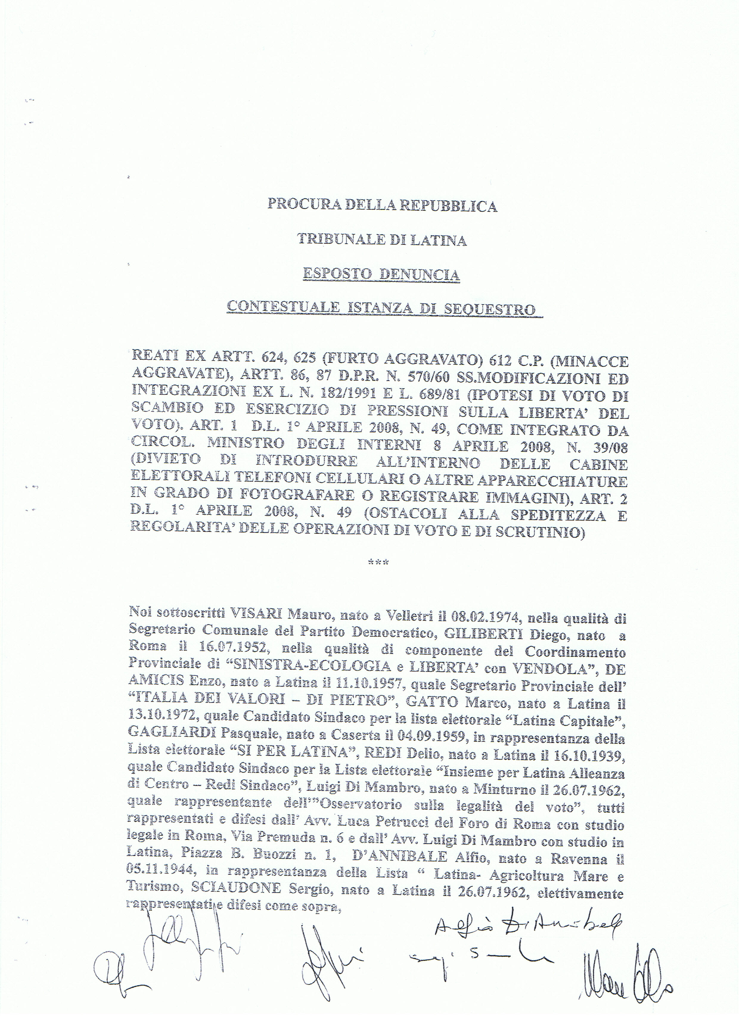 elezioni latina esposto - denuncia