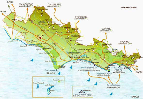 provincia_latina_itinerari_turistici_mappa