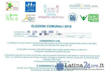 FOTO Ecco il documento anti gay firmato da alcuni candidati a sindaco di Latina