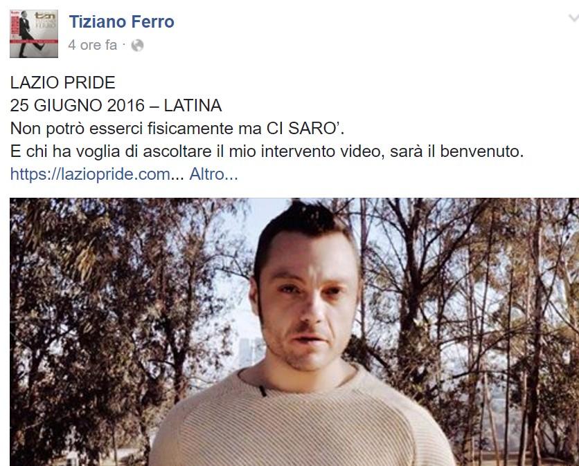 Tiziano Ferro testimonial del Lazio Pride 2016 a Latina