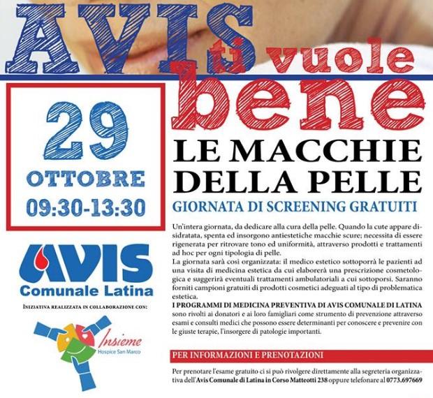 Macchie della pelle, screening gratuito all'Avis di Latina