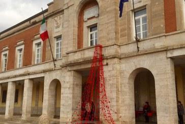 FOTO Latina, una pioggia di rose rosse contro la violenza sulle donne