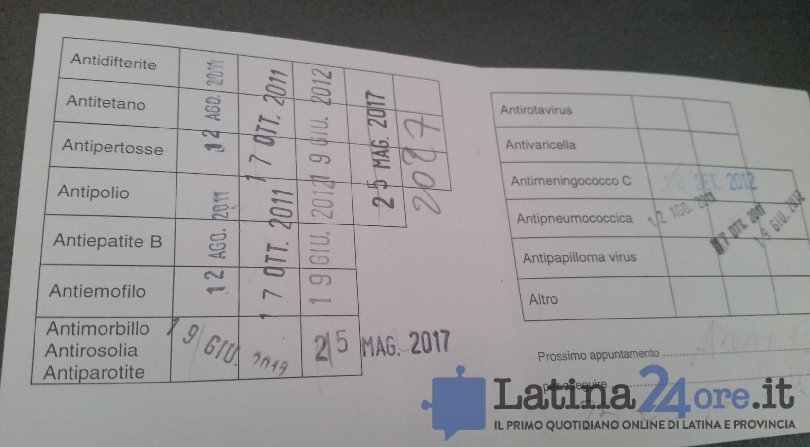 libretto vaccinazioni