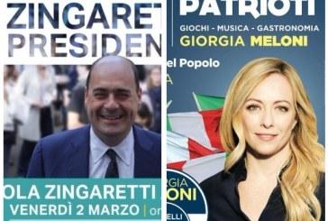 Elezioni, Zingaretti e Meloni chiudono la campagna elettorale a Latina in contemporanea